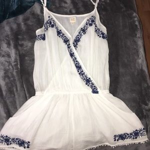 White romper (shorts) with blue flower designs
